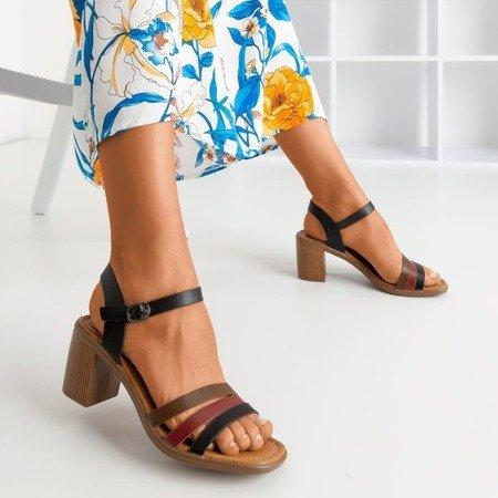 Чорні босоніжки на верхній стійці з різнокольоровими смужками Ghilea - Взуття