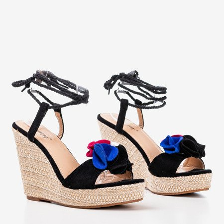 Чорні жіночі босоніжки на танкетці на шнурівці від Chantelle - Взуття