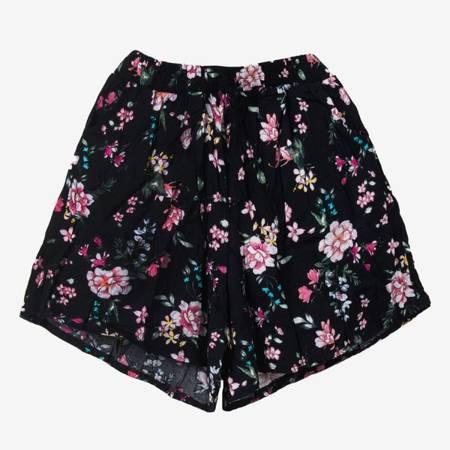 Чорні жіночі короткі шорти з квітами - Одяг 1