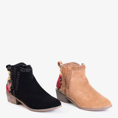Чорні жіночі черевики з декоративною вишивкою Хастіелі - Взуття