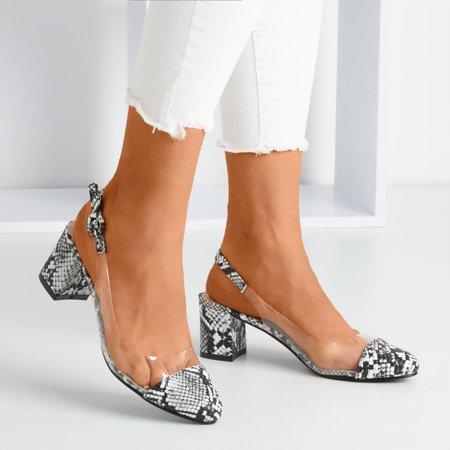 Чорні туфлі на низькому стовпі на зміїній шкірі Еворія - Взуття