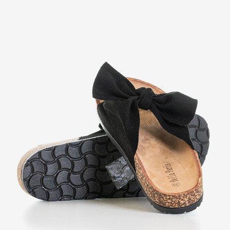 Чорні шльопанці з бантом Сонце - Взуття 1