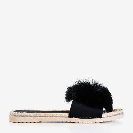 Чорні шльопанці з пензликом Talvika - Взуття 1