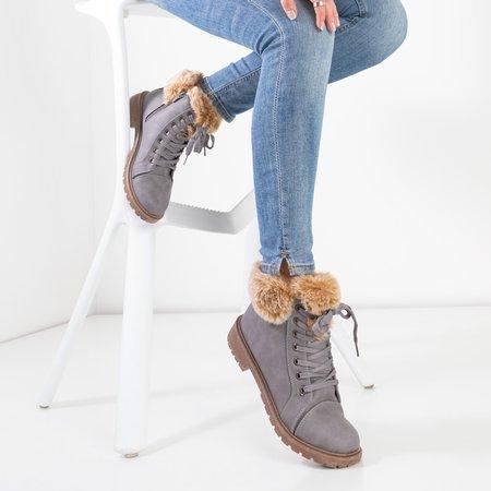 Сірі жіночі черевики з хутром Zonevka - Взуття