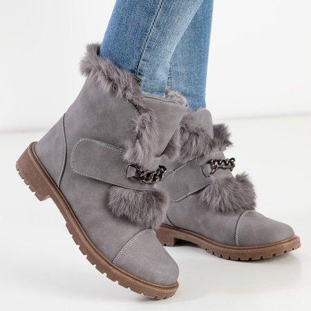 Сірі жіночі снігові черевики з хутром Enila - Взуття