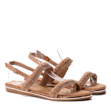 Sandałki z cyrkoniami w kolorze camel- Obuwie