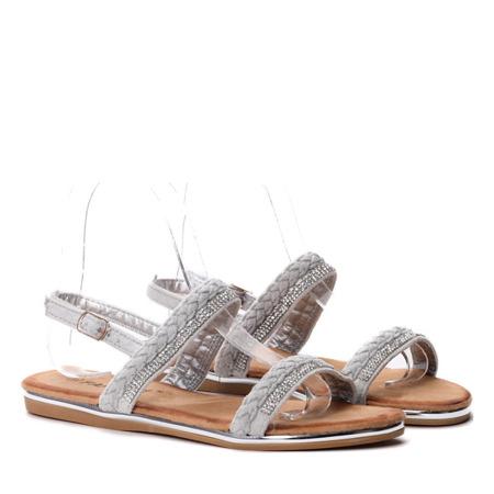 Szare sandałki z cyrkoniami- Obuwie