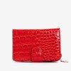 Жіночий гаманець червоного кольору з тисненням на тваринах - Гаманець