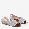 Світло-сірі ажурні жіночі босоніжки на низькому клині Dirca - Взуття 1